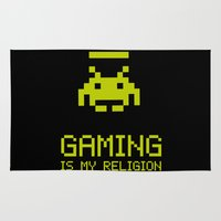 religion Area & Throw Rugs featuring Gaming is my religion by Lily's Factory
