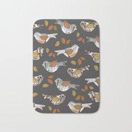 Graphic Birch Bark Birds and Fall Leaves Smokey Grey Stripe Bath Mat