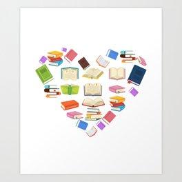 Book Heart Reading Lover Bookworm Librarian Art Print