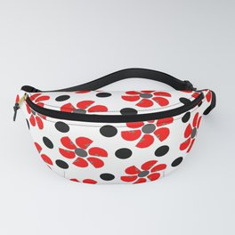 spring red white black grey floral pattern Fanny Pack