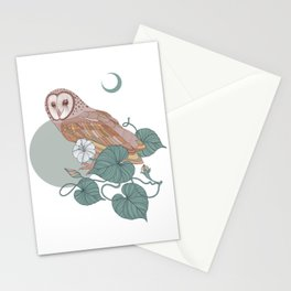 Pink Barn Owl Stationery Cards