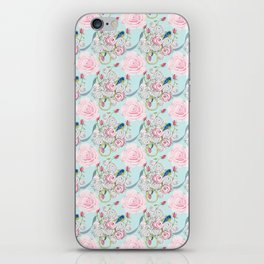 Bluebirds and Shabby Chic Roses on Paris Blue iPhone Skin