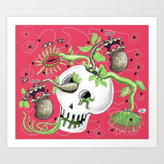 Skull Cachepot with Carnivorous Plants Art Print