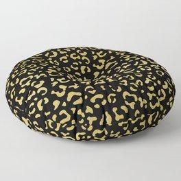 Animal Print, Leopard Spots, Glitter - Gold Black Floor Pillow