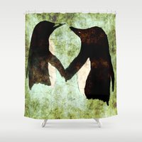 penguins Shower Curtains featuring Penguins by James Peart