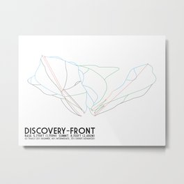 Discovery, MT - Front Side - Minimalist Trail Art Metal Print