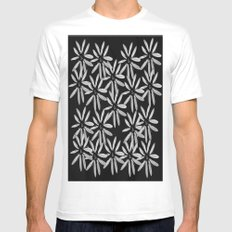 Tiny White Flowers on Black Background Mens Fitted Tee MEDIUM White