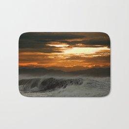 Winter Shorebreak at Sunset Bath Mat