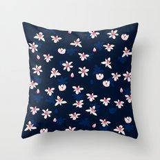 Little Flowers Blues Throw Pillow