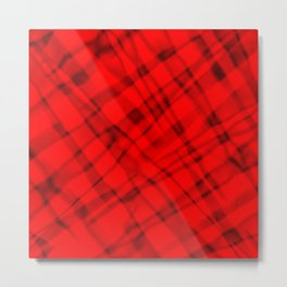 Bright metal mesh with red intersecting diagonal lines and stripes. Metal Print