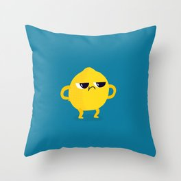 Grumpy Sour Lemon Throw Pillow