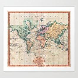 Vintage World Map 1801 Art Print
