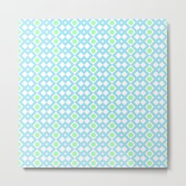 Geometric Pattern - Diamonds and Dots - Turquoise & Green Metal Print
