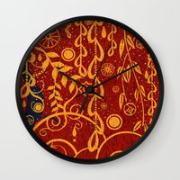 gustav klimt Wall Clocks featuring A Garden for Gustav by DebS Digs Photo Art