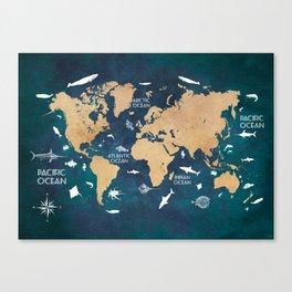 World Map Oceans Life blue #map #world Canvas Print