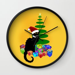 Christmas Le Chat Noir With Santa Hat Wall Clock