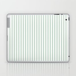 Mattress Ticking Narrow Striped Pattern in Moss Green and White Laptop & iPad Skin