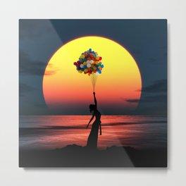 Sunset Balloons Girl Metal Print