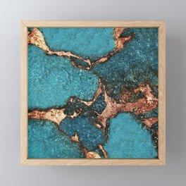 GEMSTONE  & GOLD AQUA Framed Mini Art Print