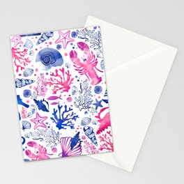 Hand painted blush pink blue watercolor nautical sea pattern Stationery Cards