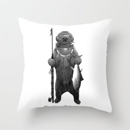 Harpoon Fishing Bear Throw Pillow