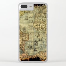 Vintage Old World Map Clear iPhone Case
