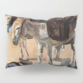 Isaac Lazarus Israels - Two donkeys - Digital Remastered Edition Pillow Sham