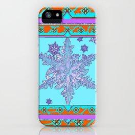BLUE ICELANDIC STYLE BLUE-LILAC SNOWFLAKE ART iPhone Case