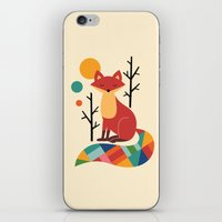 rose iPhone & iPod Skins featuring Rainbow Fox by Andy Westface