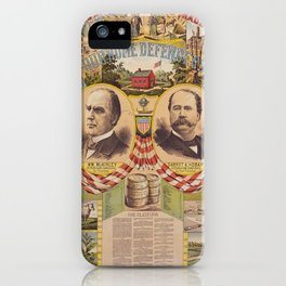 Mc. Kinley and Hobart Presidential Elections Vintage Poster 1896 iPhone Case