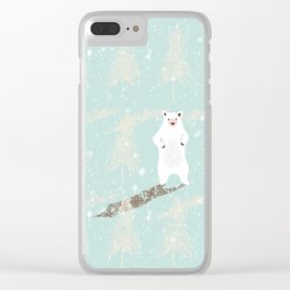 Polar bear in snowy white winter forest -Illustration Clear iPhone Case
