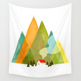 House at the foot of the mountains Wall Tapestry