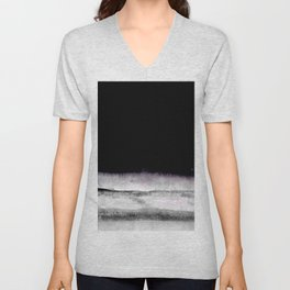 black and gray abstract landscape painting Unisex V-Neck