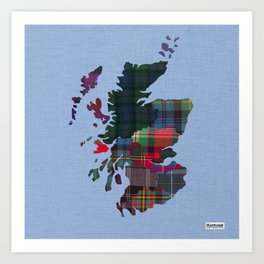 Scotland Counties Fabric Map Art Art Print