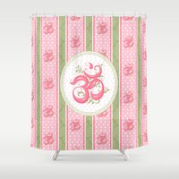 shabby chic Shower Curtains featuring Shabby Chic Om by Genie Wilson