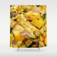 vegetables Shower Curtains featuring Steamed Vegetables by BravuraMedia