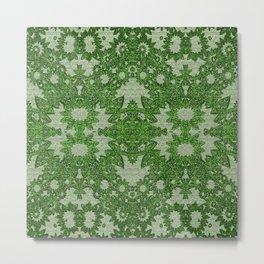 Victorian Vintage Boho Mossy Green Lace Metal Print