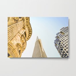 pyramid building and modern building and vintage style building at San Francisco, USA Metal Print