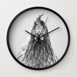 Chicken - Black & White Wall Clock