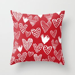 Herats red and white pattern minimal valentines day cute girly gifts hand drawn love patterns Throw Pillow