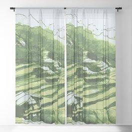 Terrace fields of Vietnam Sheer Curtain