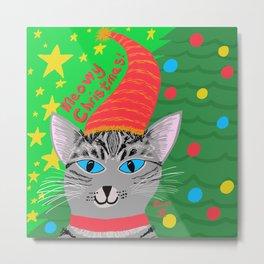 Christmas Cat short hair grey tabby blue eyes Metal Print