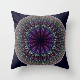 Floral mandala with tribal patterns Throw Pillow