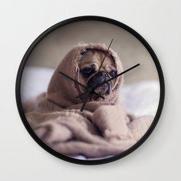 Snug pug in a rug Wall Clock