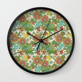Garden Charm 10:  vintage retro butterfly shabby pattern yellow and blue Wall Clock