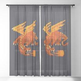 Pixel Fiery Dragon Sheer Curtain