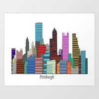 pittsburgh Art Prints featuring Pittsburgh by bri.buckley