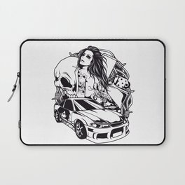 Tattoo GIRL with SKULL AND CAR - Snake Laptop Sleeve
