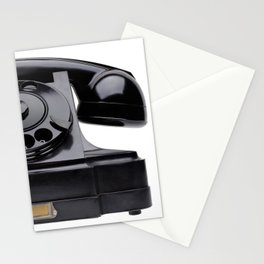 Old black telephone, middle of 20th century, aged and scuffed Stationery Cards