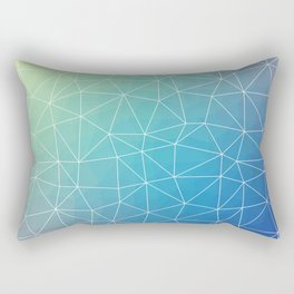 Abstract Blue Geometric Triangulated Design Rectangular Pillow